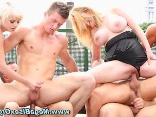 Bigtits rooftop orgy blonde slut