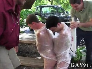 Amazing twinks Pledges in saran wrap, bobbing for dildos, and