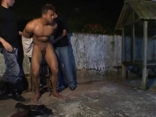 Dudes have hot bareback threesome with bandit outside