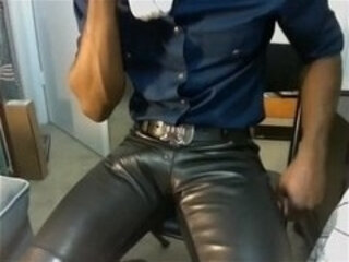 huge bulge in leather pant
