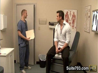 Gay doctor Robbie exam Phenix's ass at work only on Suite703