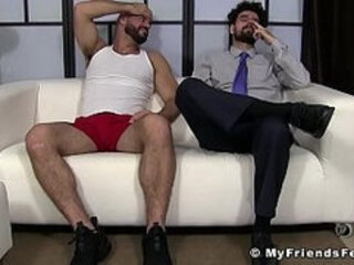 Businessman Ricky tied up by foot fetish hunk for licking