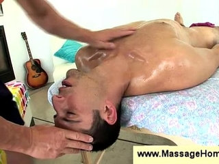 Gay masseur fucks dudes throat deep