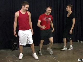 Gay jocks Aaron, Damon and Devon share dicks at Suite703