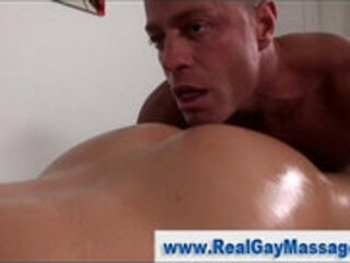 Gay masseuse coaxes straight guy into anal seduction