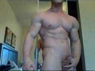 Daniel Carter show his worked body webcam