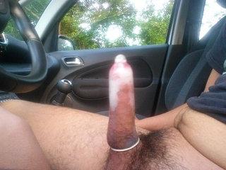 Public cum in condom